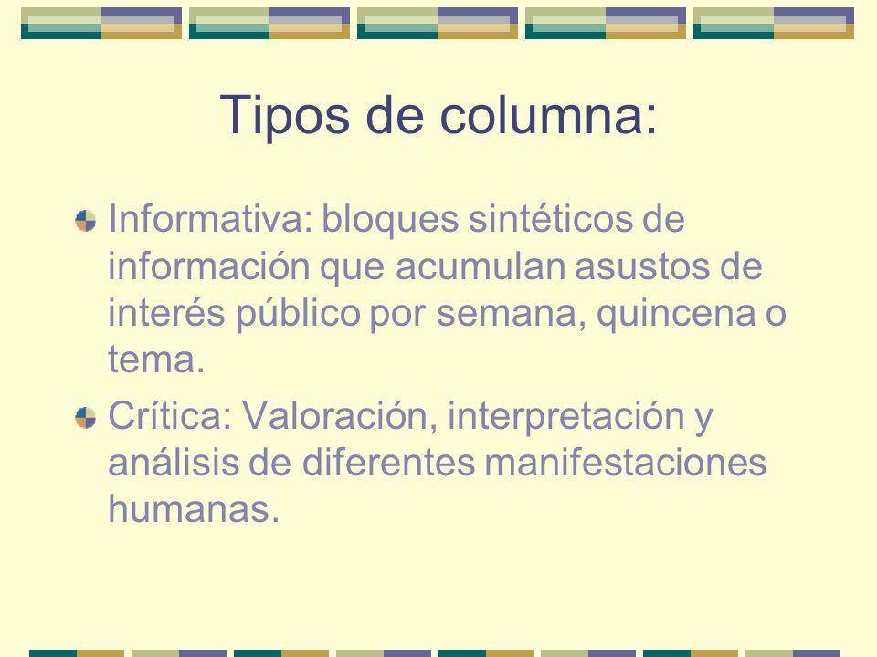 Tipos de columna: Informativa: bloques sintéticos de información que acumulan asustos de interés público por semana, quincena o tema.
