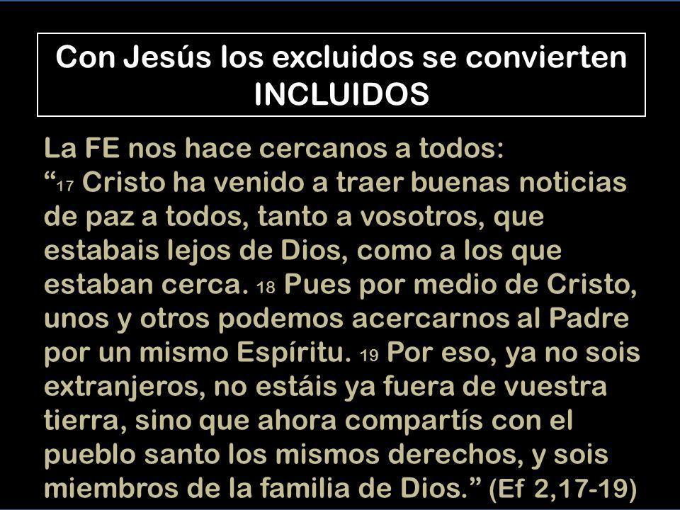 Con Jesús los excluidos se convierten INCLUIDOS
