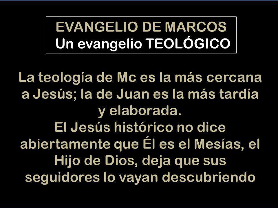 EVANGELIO DE MARCOS Un evangelio TEOLÓGICO