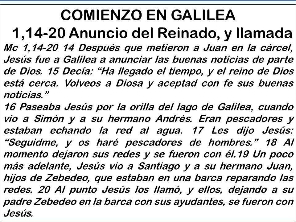 COMIENZO EN GALILEA - 1,14-20 Anuncio del Reinado, y llamada