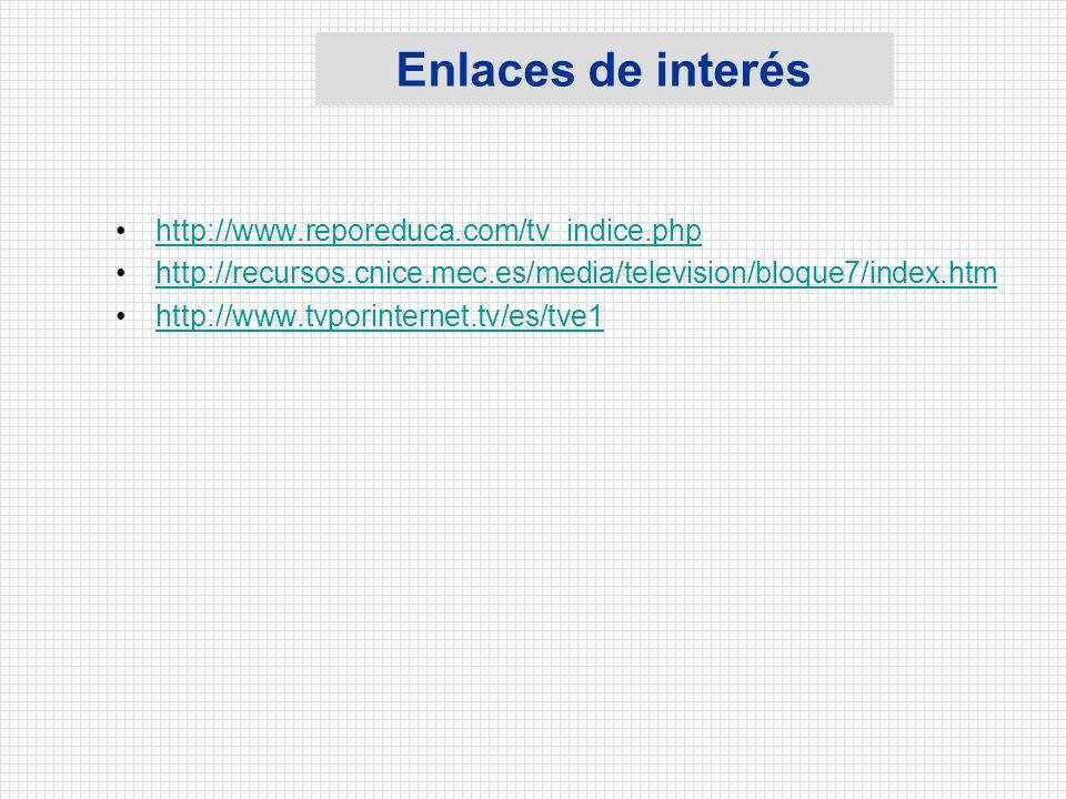 Enlaces de interés http://www.reporeduca.com/tv_indice.php