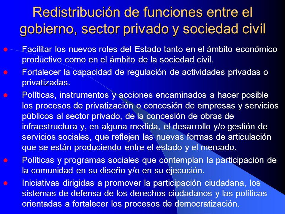 Redistribución de funciones entre el gobierno, sector privado y sociedad civil