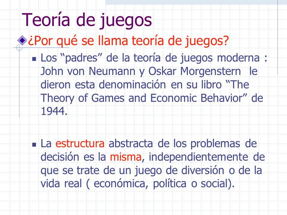 Teoría de juegos ¿Por qué se llama teoría de juegos