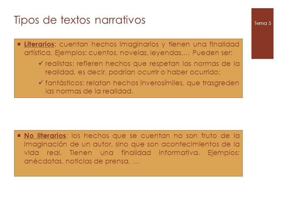 Tipos de textos narrativos