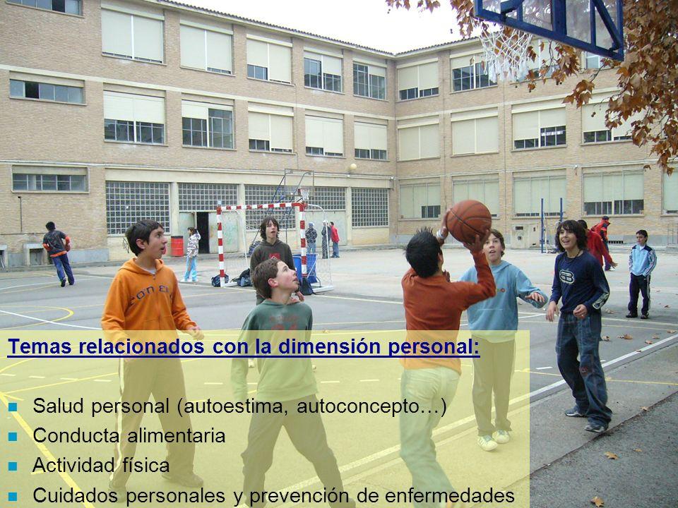 Temas relacionados con la dimensión personal: