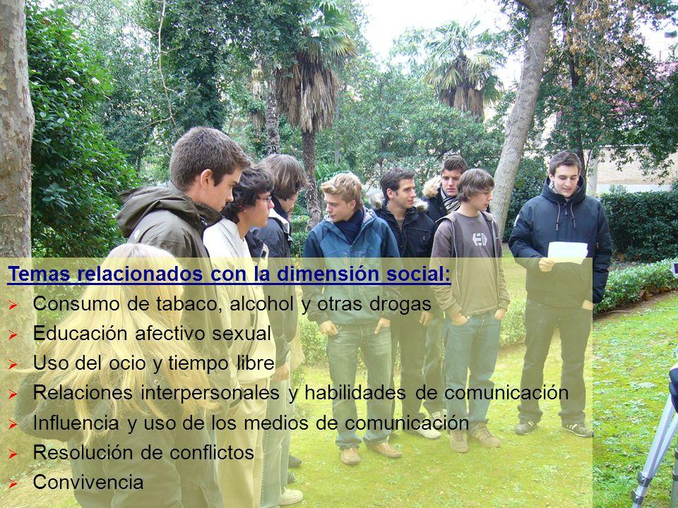 Temas relacionados con la dimensión social: