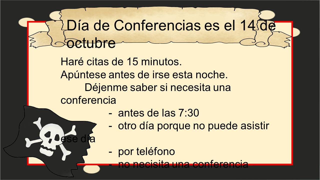 Día de Conferencias es el 14 de octubre