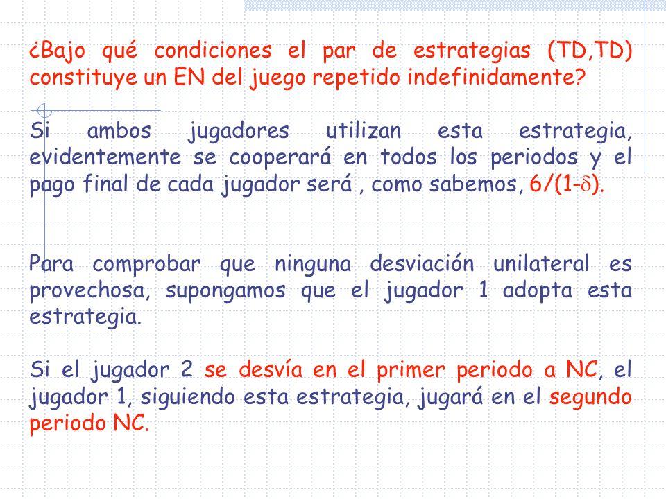 ¿Bajo qué condiciones el par de estrategias (TD,TD) constituye un EN del juego repetido indefinidamente