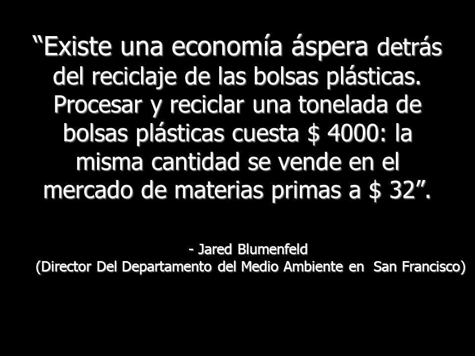 Existe una economía áspera detrás del reciclaje de las bolsas plásticas. Procesar y reciclar una tonelada de bolsas plásticas cuesta $ 4000: la misma cantidad se vende en el mercado de materias primas a $ 32 .