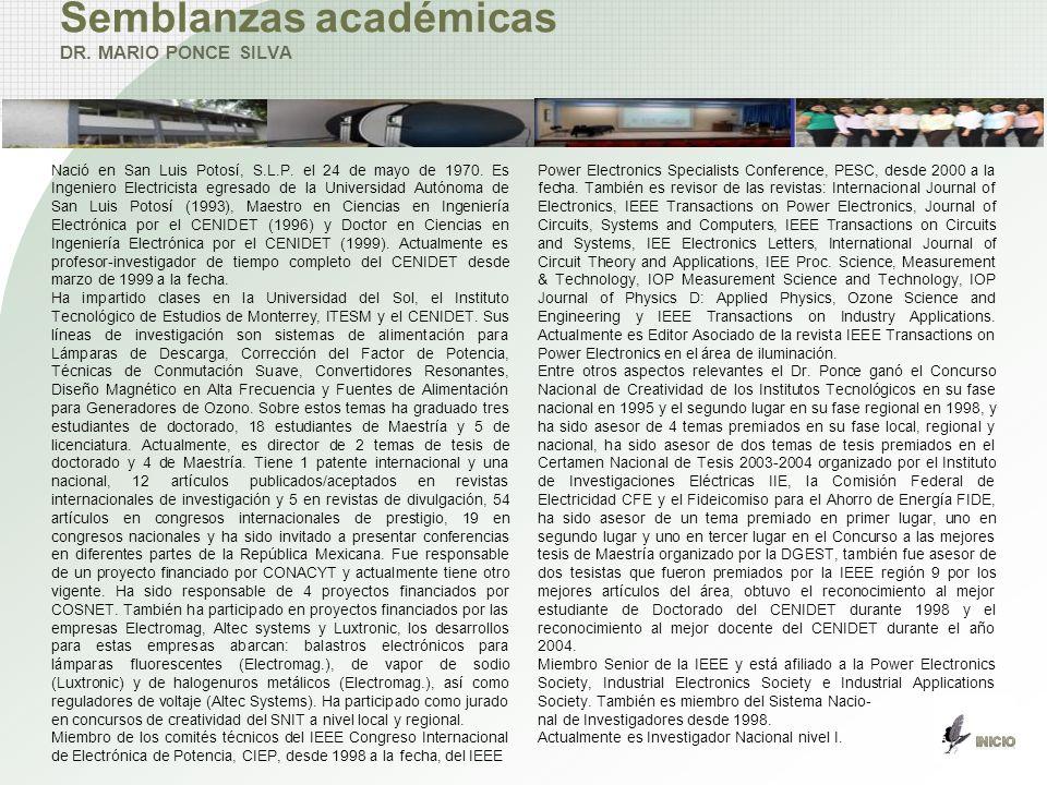 Semblanzas académicas DR. MARIO PONCE SILVA