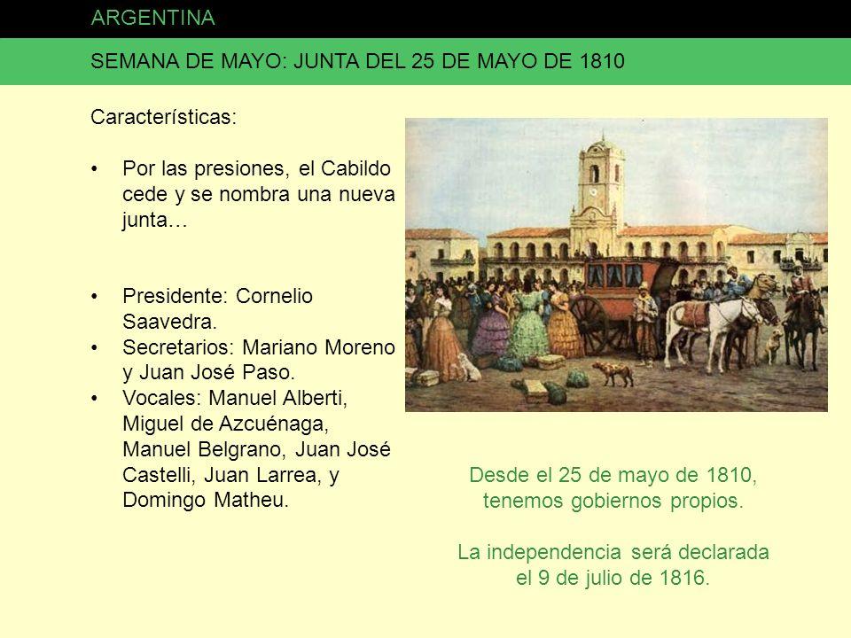 SEMANA DE MAYO: JUNTA DEL 25 DE MAYO DE 1810