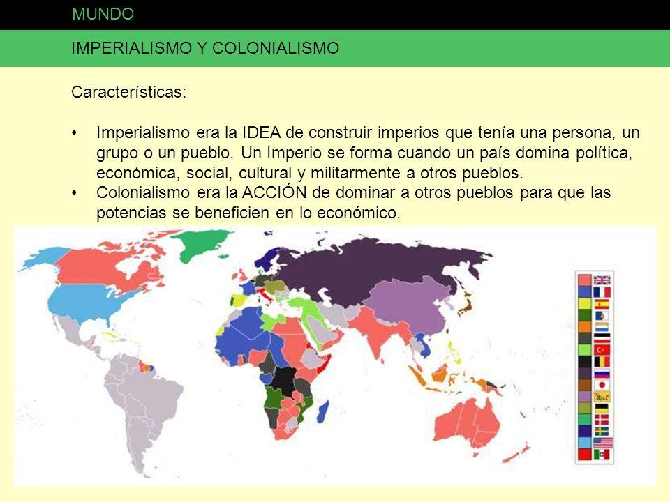 MUNDO IMPERIALISMO Y COLONIALISMO. Características: