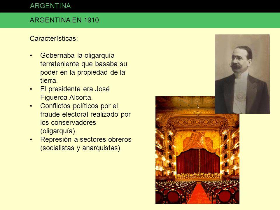 ARGENTINA ARGENTINA EN 1910. Características: Gobernaba la oligarquía terrateniente que basaba su poder en la propiedad de la tierra.
