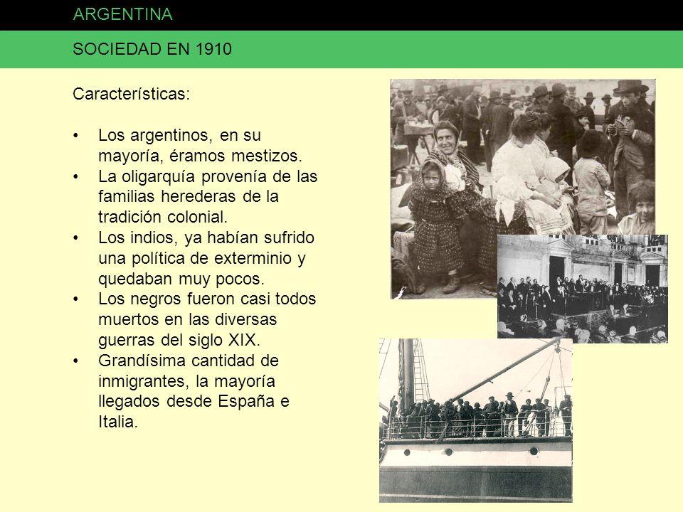 ARGENTINA SOCIEDAD EN 1910. Características: Los argentinos, en su mayoría, éramos mestizos.