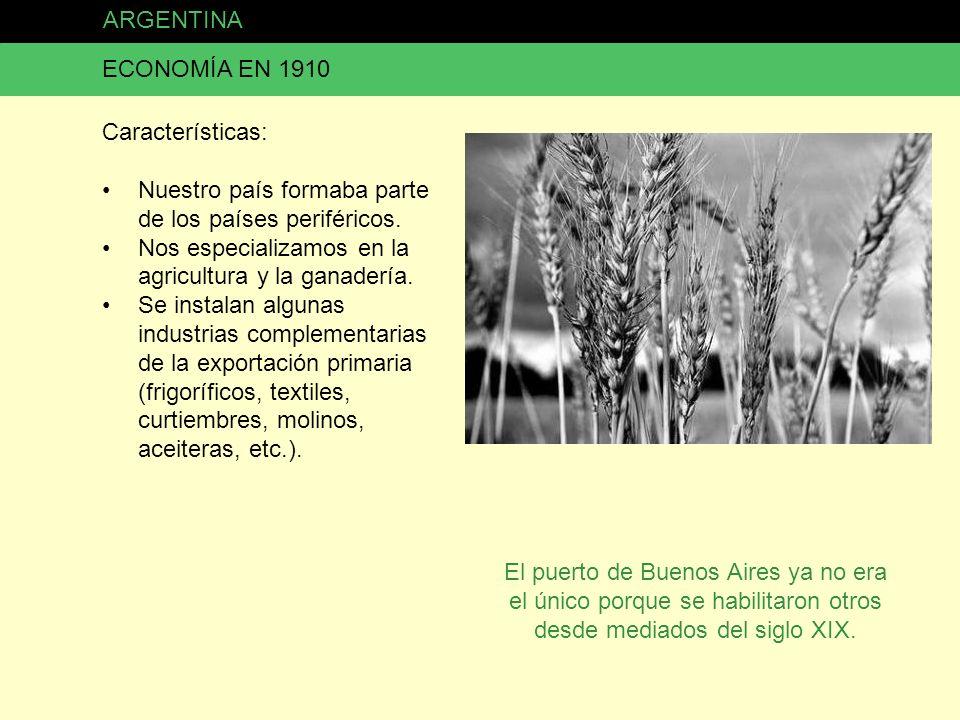 ARGENTINA ECONOMÍA EN 1910. Características: Nuestro país formaba parte de los países periféricos.