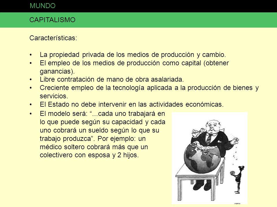 MUNDO CAPITALISMO. Características: La propiedad privada de los medios de producción y cambio.