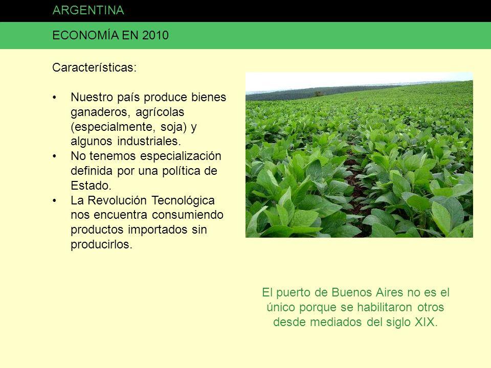 ARGENTINA ECONOMÍA EN 2010. Características: Nuestro país produce bienes ganaderos, agrícolas (especialmente, soja) y algunos industriales.