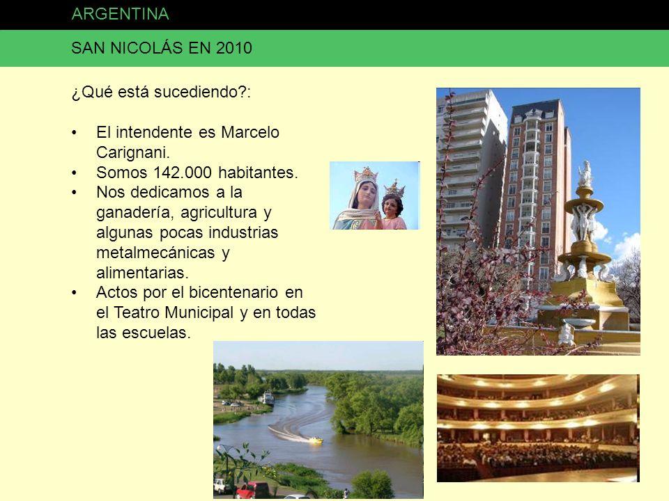 ARGENTINA SAN NICOLÁS EN 2010. ¿Qué está sucediendo : El intendente es Marcelo Carignani. Somos 142.000 habitantes.