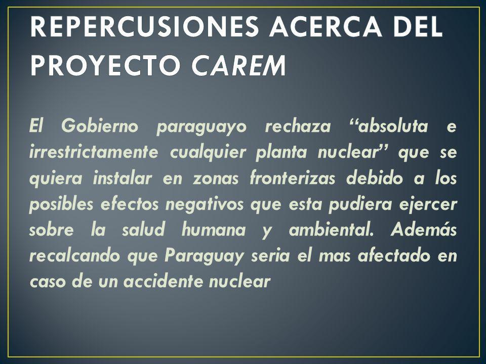 REPERCUSIONES ACERCA DEL PROYECTO CAREM