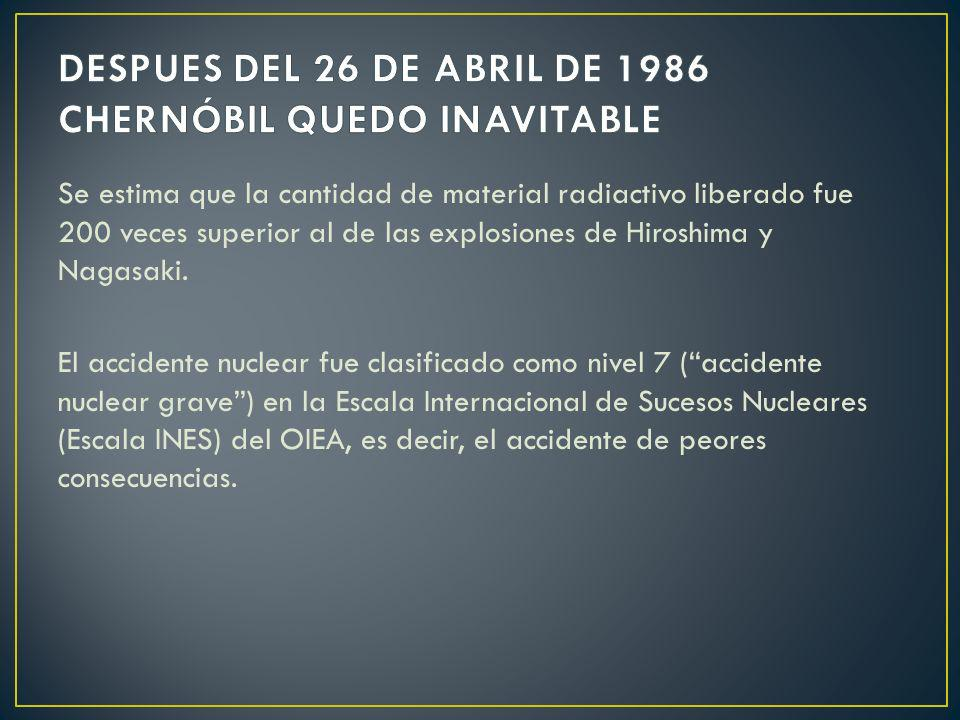 DESPUES DEL 26 DE ABRIL DE 1986 CHERNÓBIL QUEDO INAVITABLE