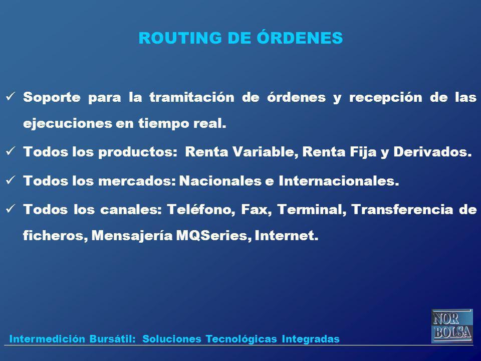ROUTING DE ÓRDENES Soporte para la tramitación de órdenes y recepción de las ejecuciones en tiempo real.