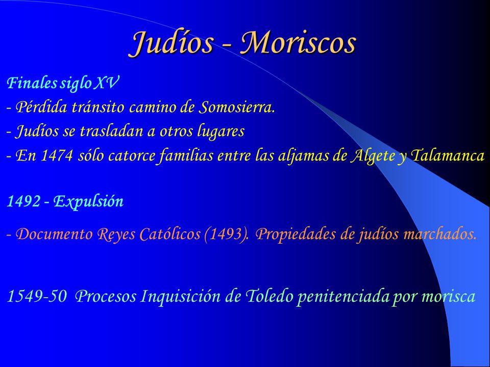 Judíos - Moriscos Finales siglo XV. - Pérdida tránsito camino de Somosierra. - Judíos se trasladan a otros lugares.