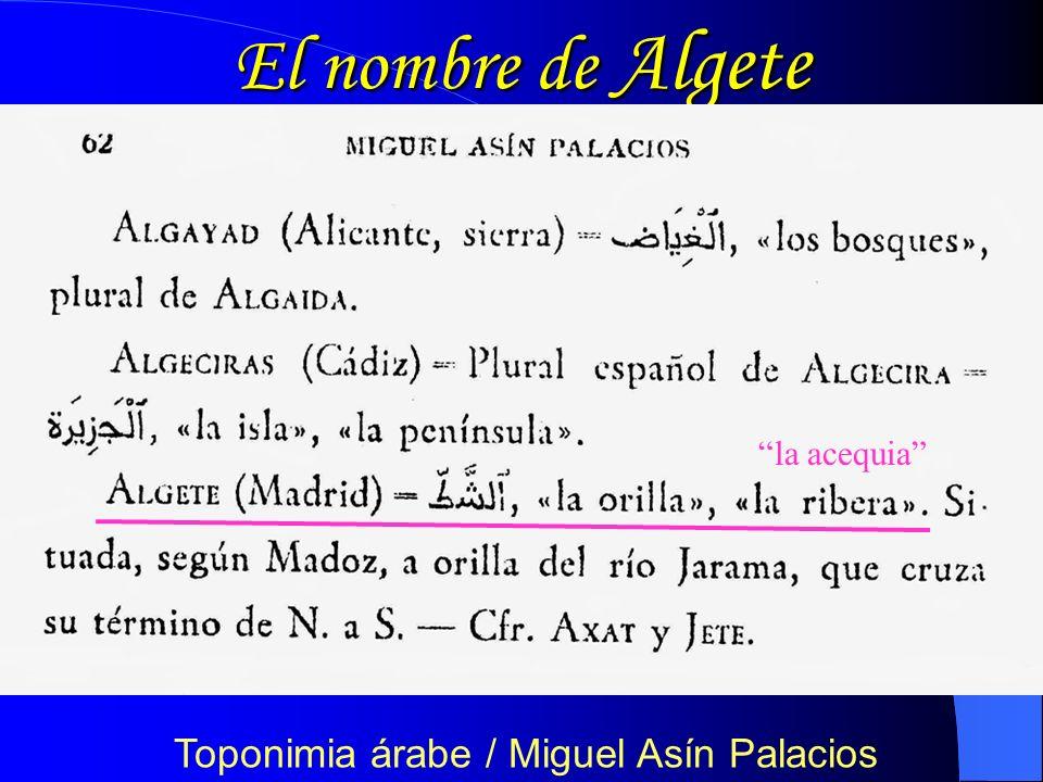 Toponimia árabe / Miguel Asín Palacios