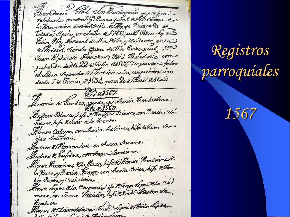 Registros parroquiales 1567