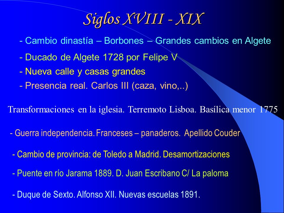 Siglos XVIII - XIX - Cambio dinastía – Borbones – Grandes cambios en Algete. - Ducado de Algete 1728 por Felipe V.