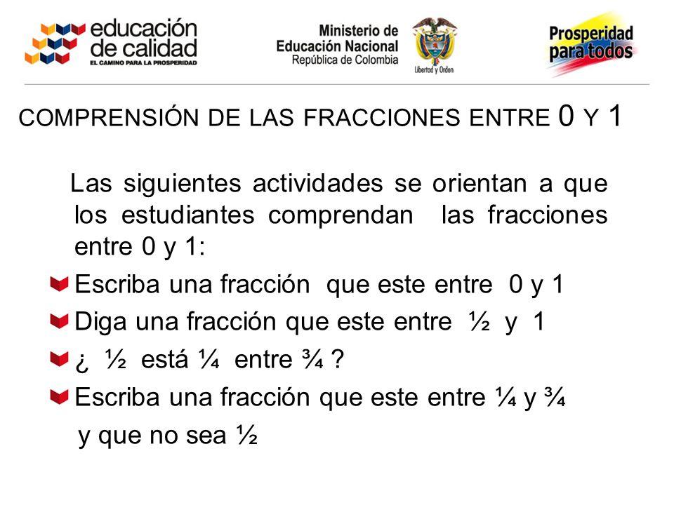 comprensión de las fracciones entre 0 y 1