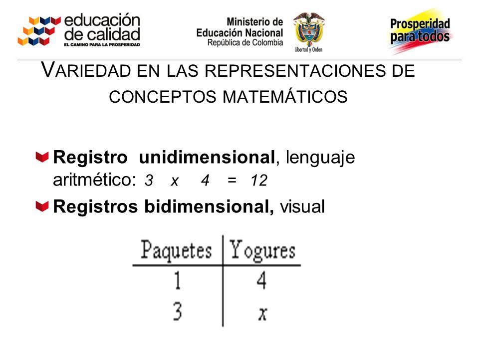 Variedad en las representaciones de conceptos matemáticos