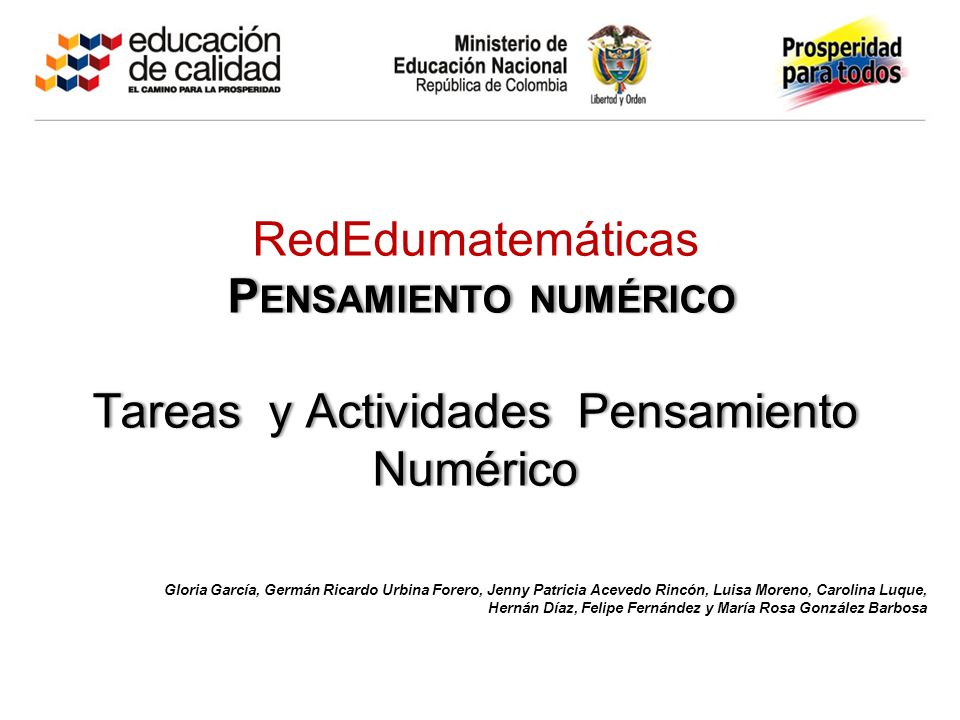 RedEdumatemáticas Pensamiento numérico Tareas y Actividades Pensamiento Numérico