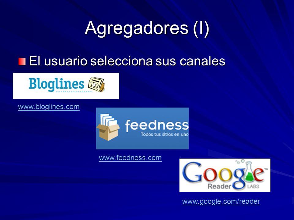 Agregadores (I) El usuario selecciona sus canales www.bloglines.com