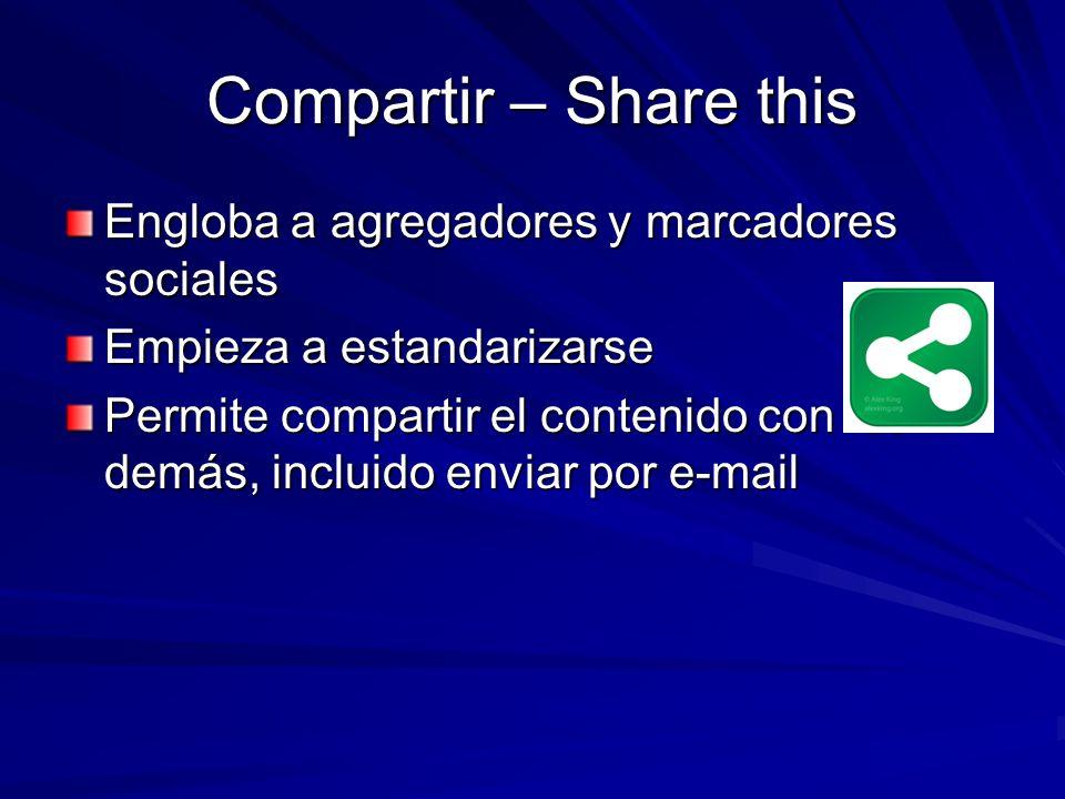 Compartir – Share this Engloba a agregadores y marcadores sociales