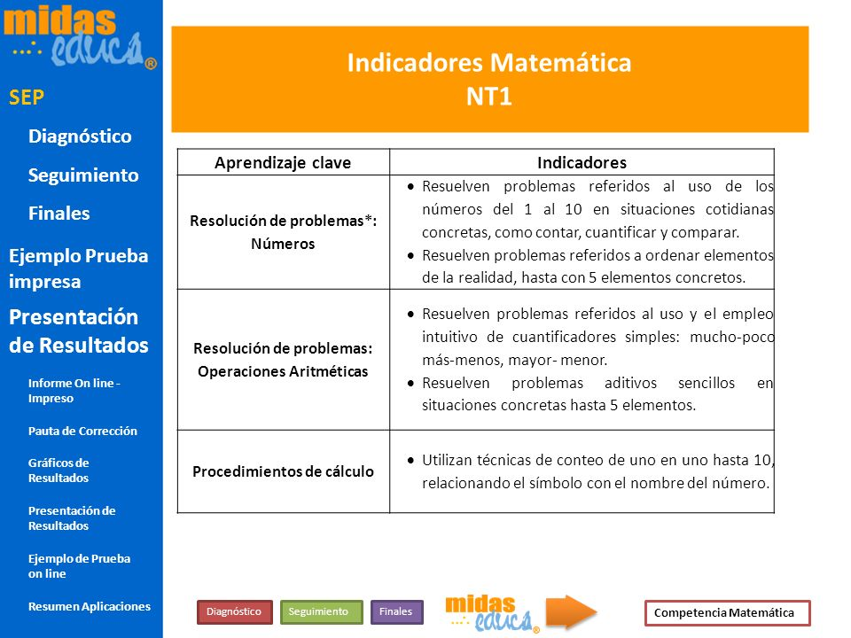 Indicadores Matemática NT1