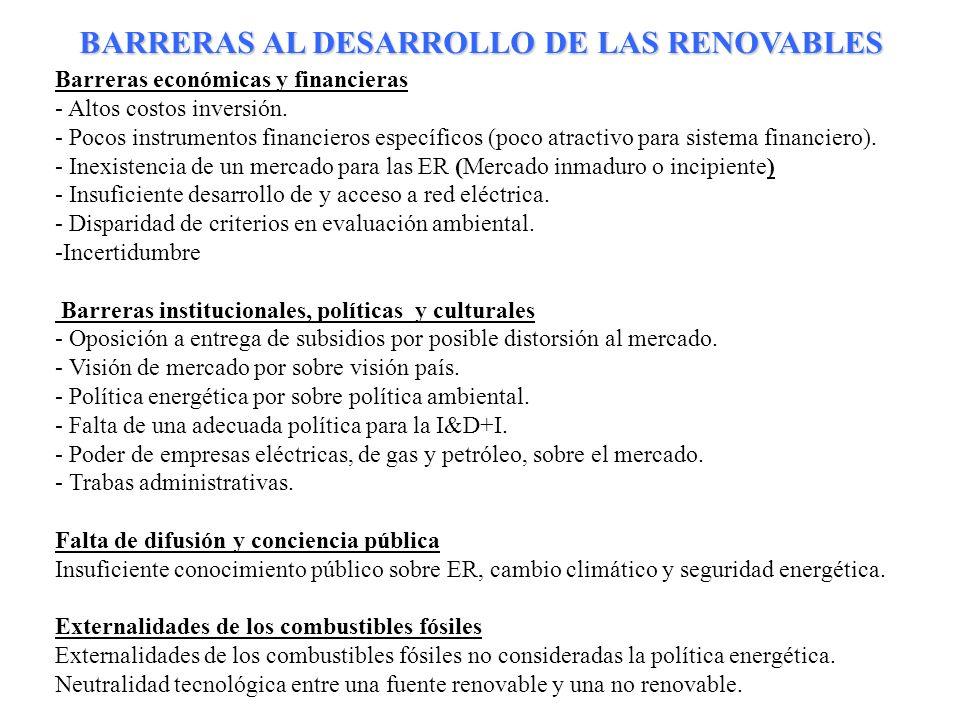 BARRERAS AL DESARROLLO DE LAS RENOVABLES