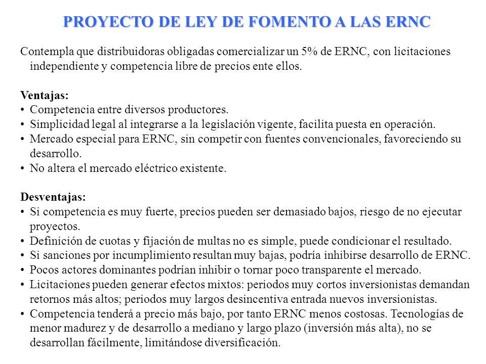 PROYECTO DE LEY DE FOMENTO A LAS ERNC
