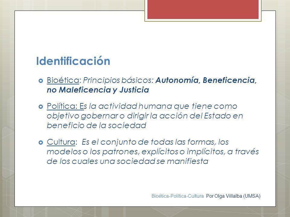 Identificación Bioética: Principios básicos: Autonomía, Beneficencia, no Maleficencia y Justicia.