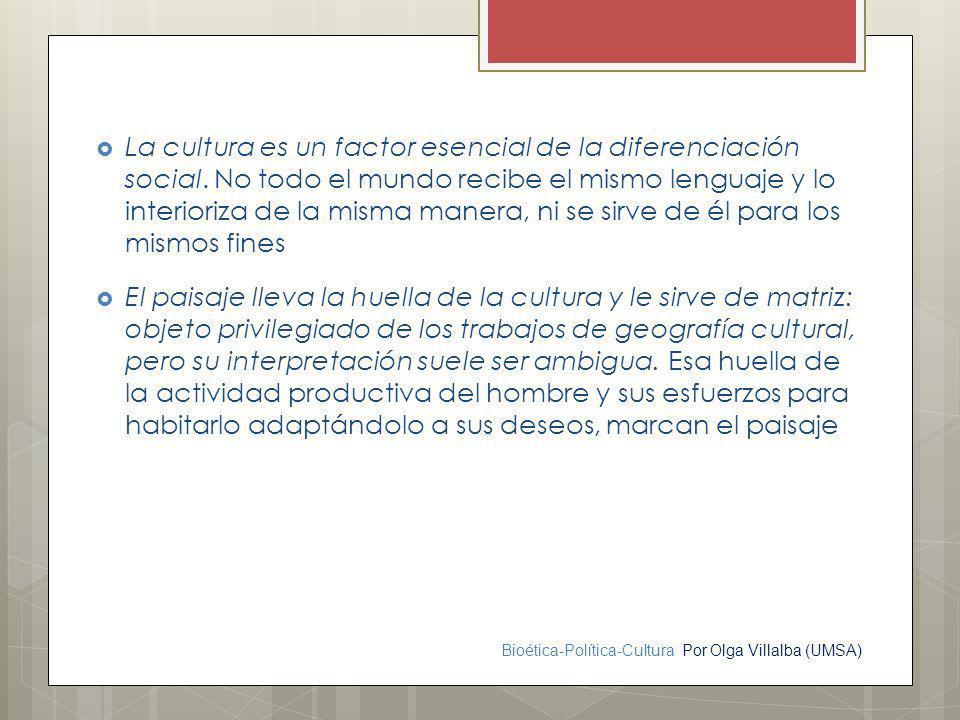 La cultura es un factor esencial de la diferenciación social