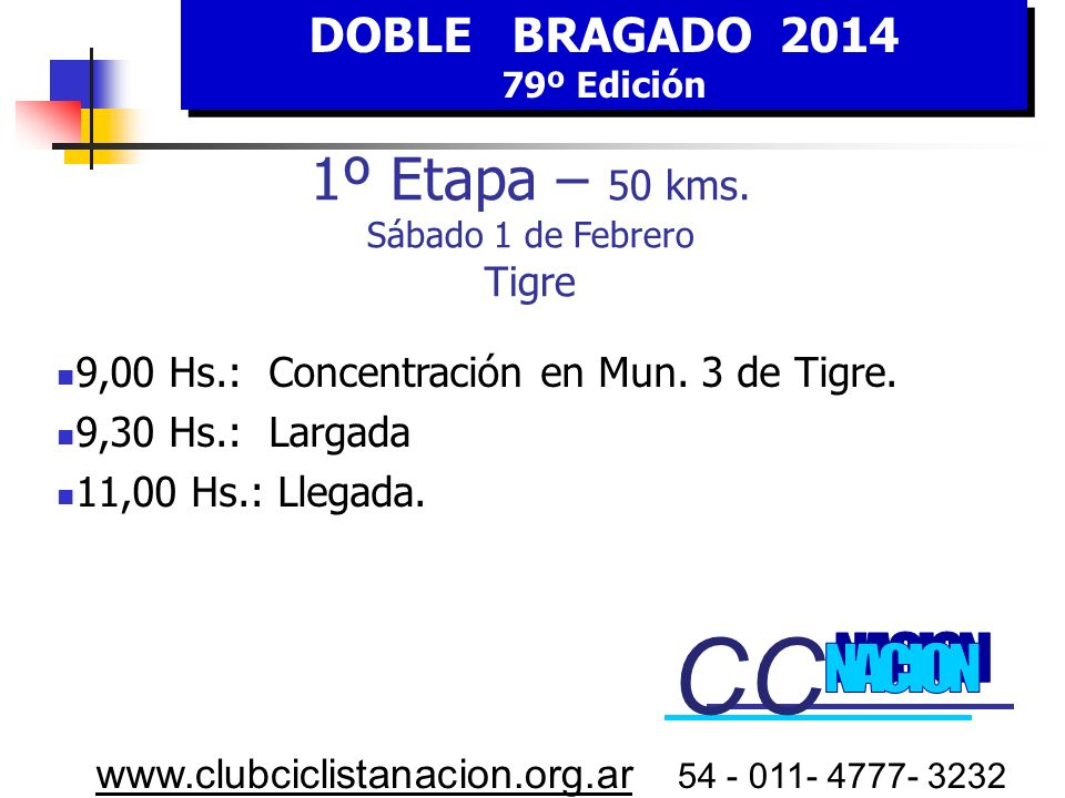 CC CC 1º Etapa – 50 kms. Sábado 1 de Febrero Tigre NACION