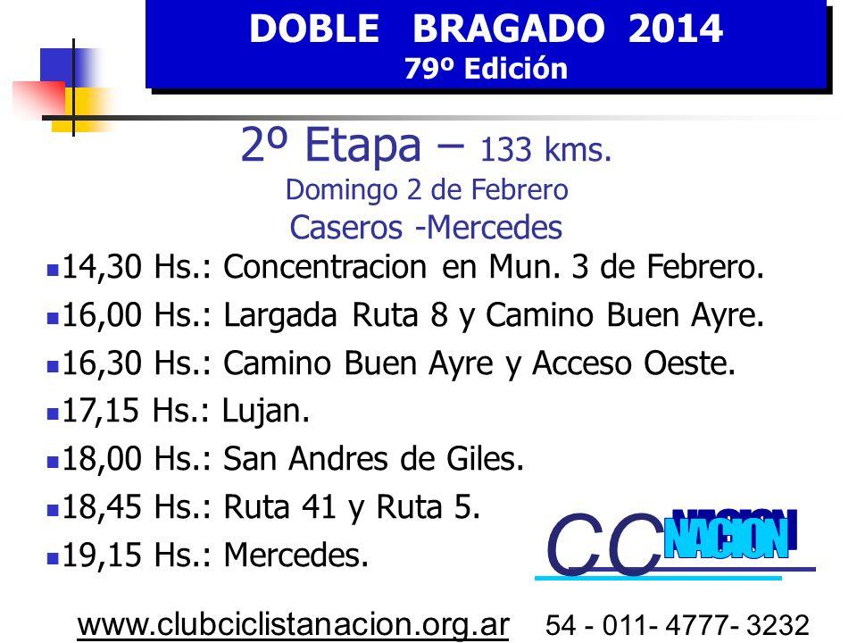 CC CC 2º Etapa – 133 kms. Domingo 2 de Febrero Caseros -Mercedes