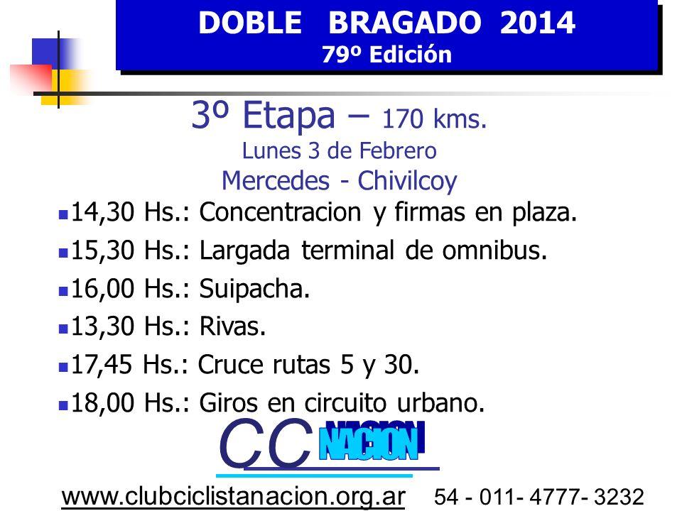 CC CC 3º Etapa – 170 kms. Lunes 3 de Febrero Mercedes - Chivilcoy