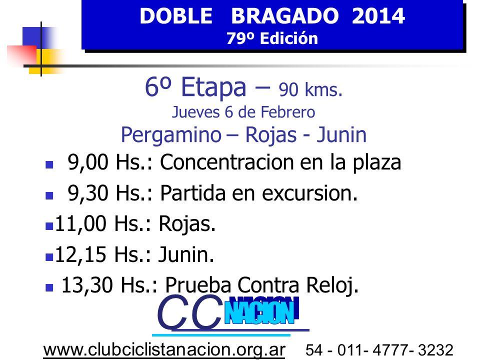 CC CC 6º Etapa – 90 kms. Jueves 6 de Febrero Pergamino – Rojas - Junin