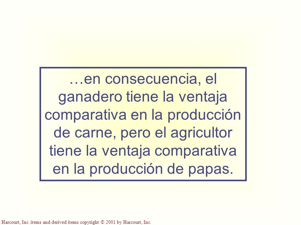 …en consecuencia, el ganadero tiene la ventaja comparativa en la producción de carne, pero el agricultor tiene la ventaja comparativa en la producción de papas.