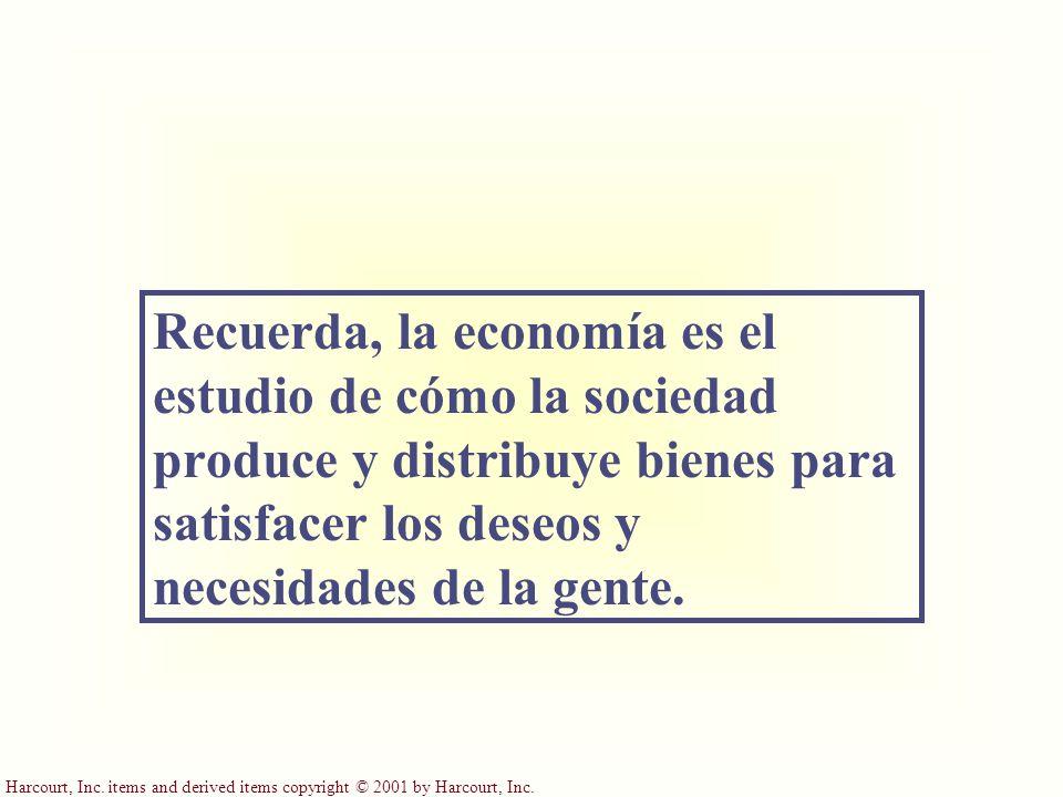 Recuerda, la economía es el estudio de cómo la sociedad produce y distribuye bienes para satisfacer los deseos y necesidades de la gente.