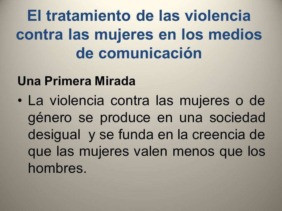 El tratamiento de las violencia contra las mujeres en los medios de comunicación