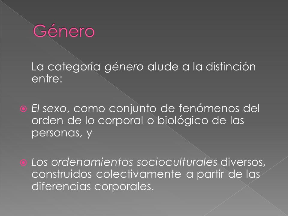Género La categoría género alude a la distinción entre: