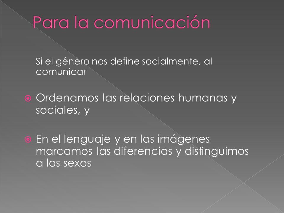 Para la comunicación Ordenamos las relaciones humanas y sociales, y