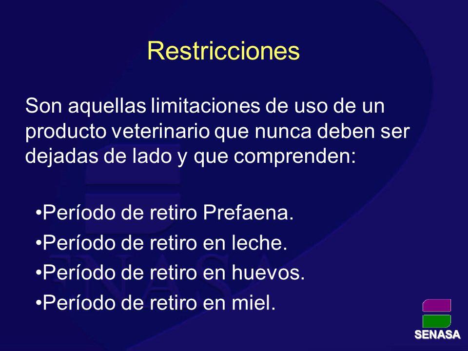 Restricciones Son aquellas limitaciones de uso de un producto veterinario que nunca deben ser dejadas de lado y que comprenden: