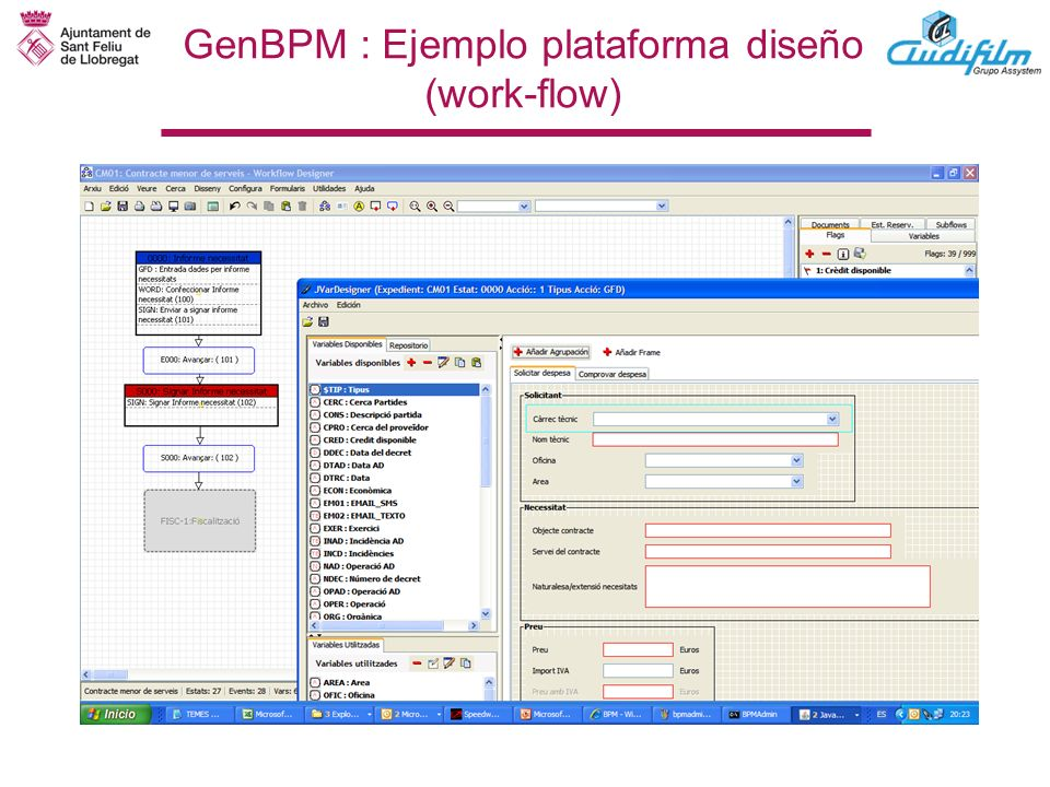 GenBPM : Ejemplo plataforma diseño (work-flow)